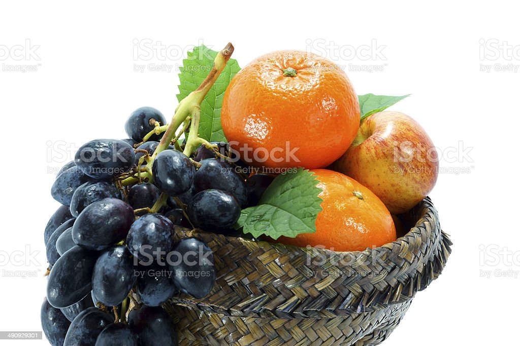 collection fruits isolated on white background stock photo