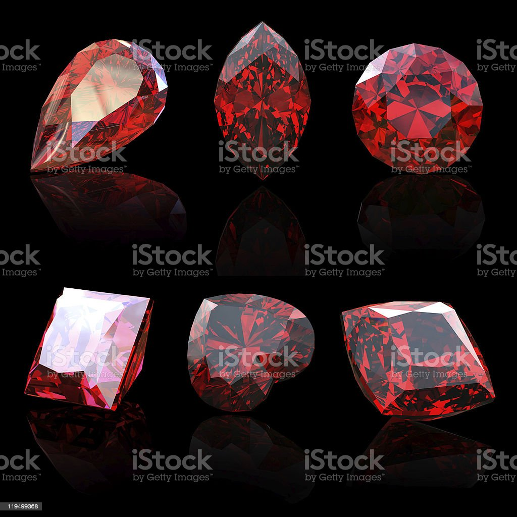 Collection garnet gems diferent shapes stock photo