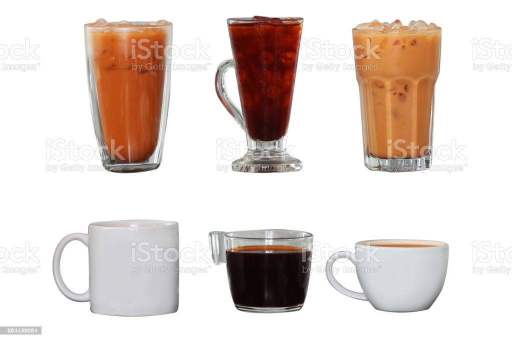 Collection Isolate Hot and Iced thai tea on white stock photo
