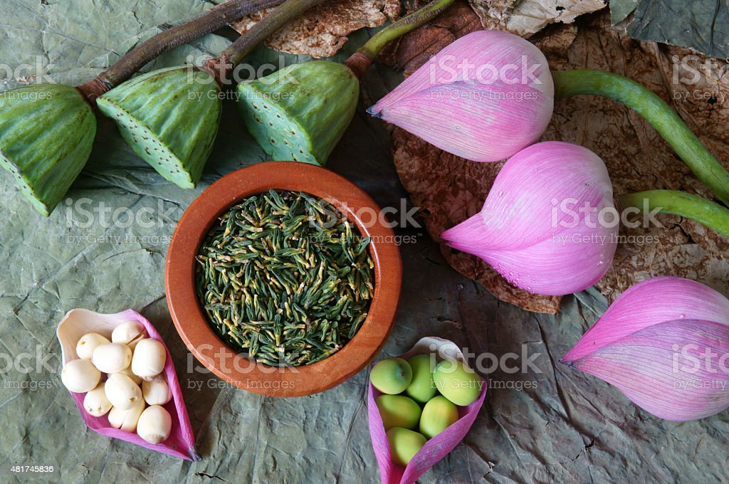 Collection Lotus Flower Seed Tea Healthy Food Stock Photo More