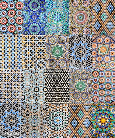 istock Collection of 20 Arabic mosaics from Moroccan medinas  XXXXL 400MPix 187082387