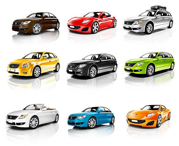 sammlung von 3d autos isoliert - hecktürmodell stock-fotos und bilder