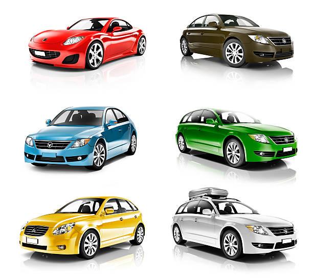 collezione di auto colorate isolato 3d - auto a combustibile alternativo foto e immagini stock