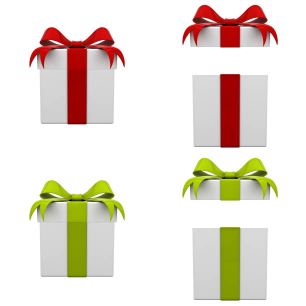 Collection of 3d gift boxes with red and green ribbon bows isolated on white background . 3D rendering Collection of 3d gift boxes with red and green ribbon bows isolated on white background . 3D rendering. gift box stock pictures, royalty-free photos & images