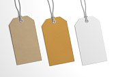 istock Collection of 3D illustration price label hang tags mockup 622443524