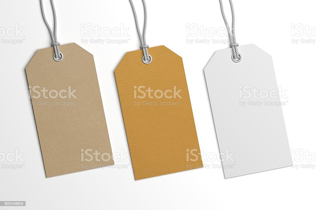 Collection of 3D illustration price label hang tags mockup stock photo