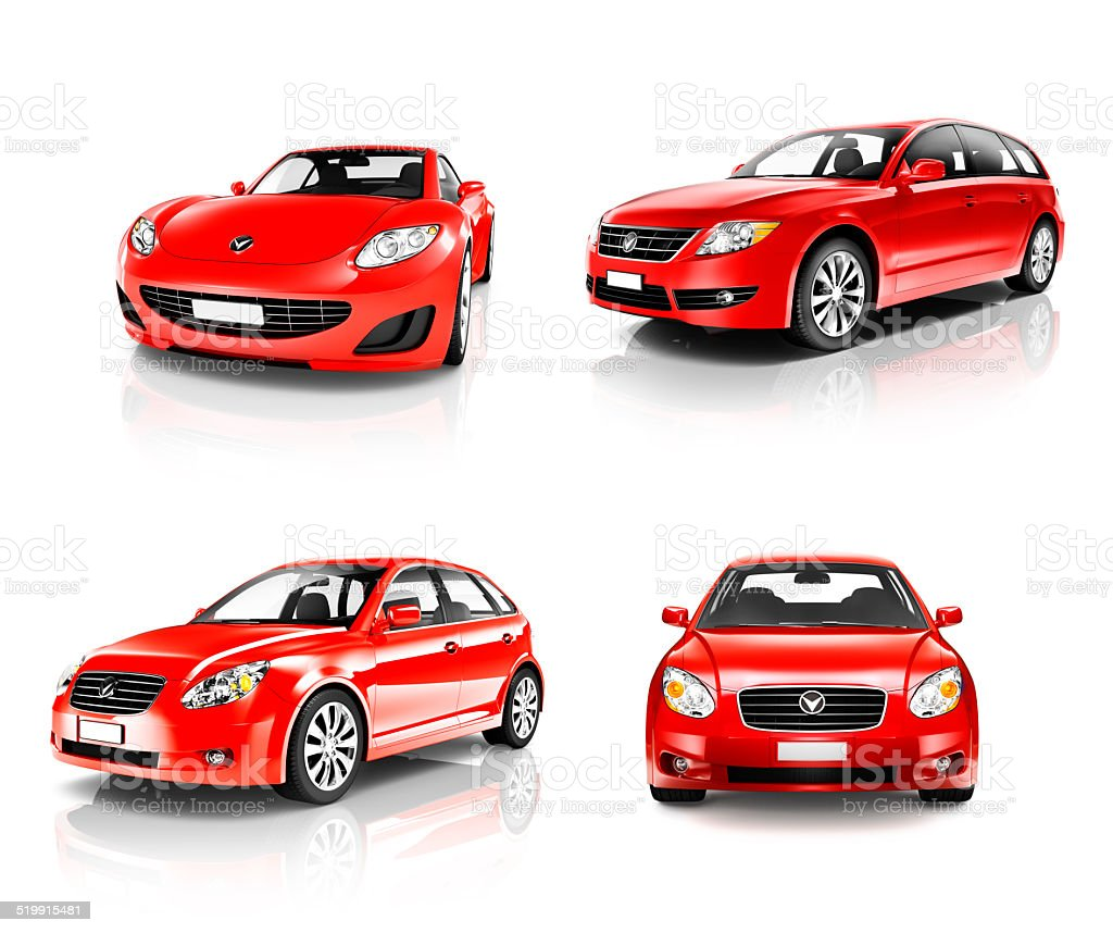 Collection of 3D Luxury Red Sport Cars stock photo