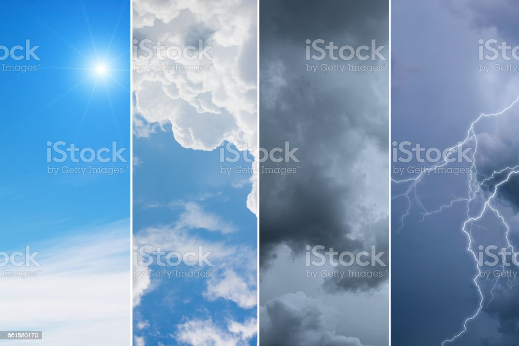 collection of 4 sky backgrounds,Meteorology Concept. royalty-free stock photo