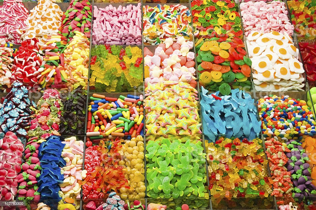 Collection of a colorful assortment of candy stock photo