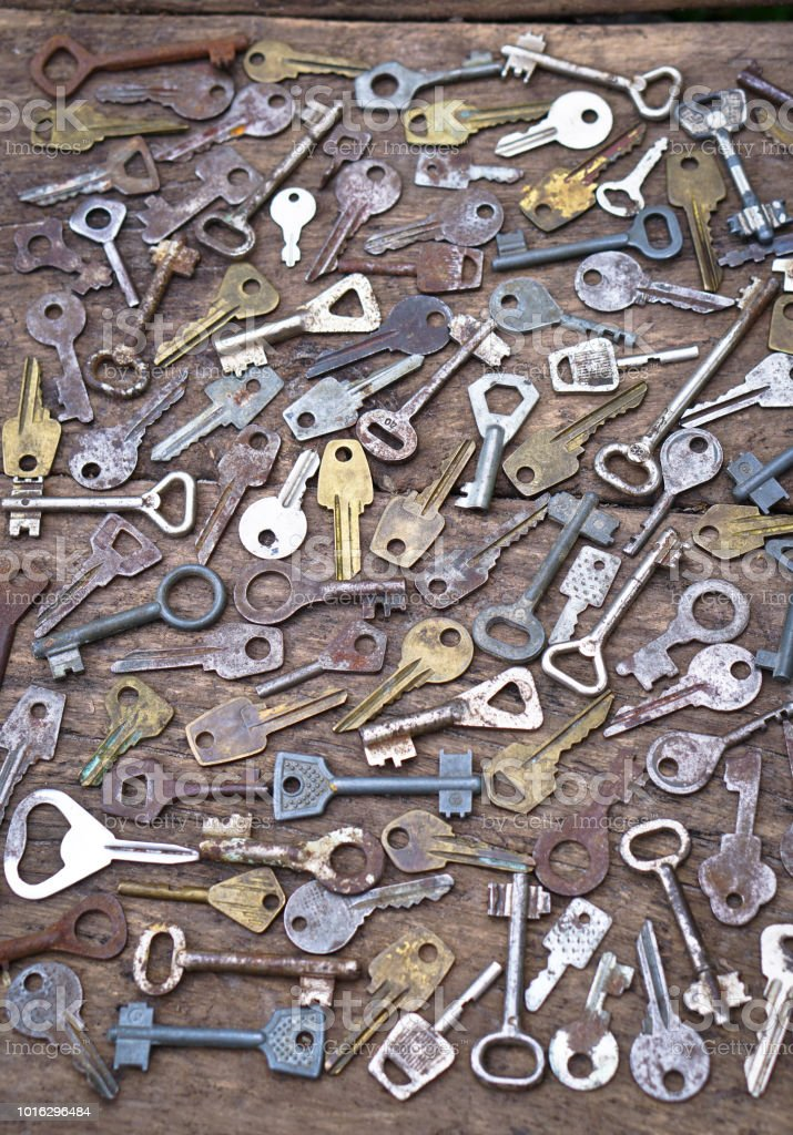 Collection Of A Variety Of Old Keys Secret Behind The Wooden