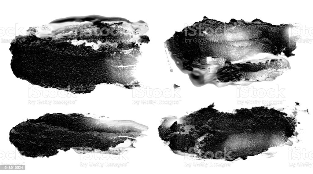 collection of abstract acrylic brush strokes blots stock photo