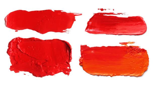 Coleção de pinceladas de cor acrílica abstrato borrões. Isolado no branco. - foto de acervo