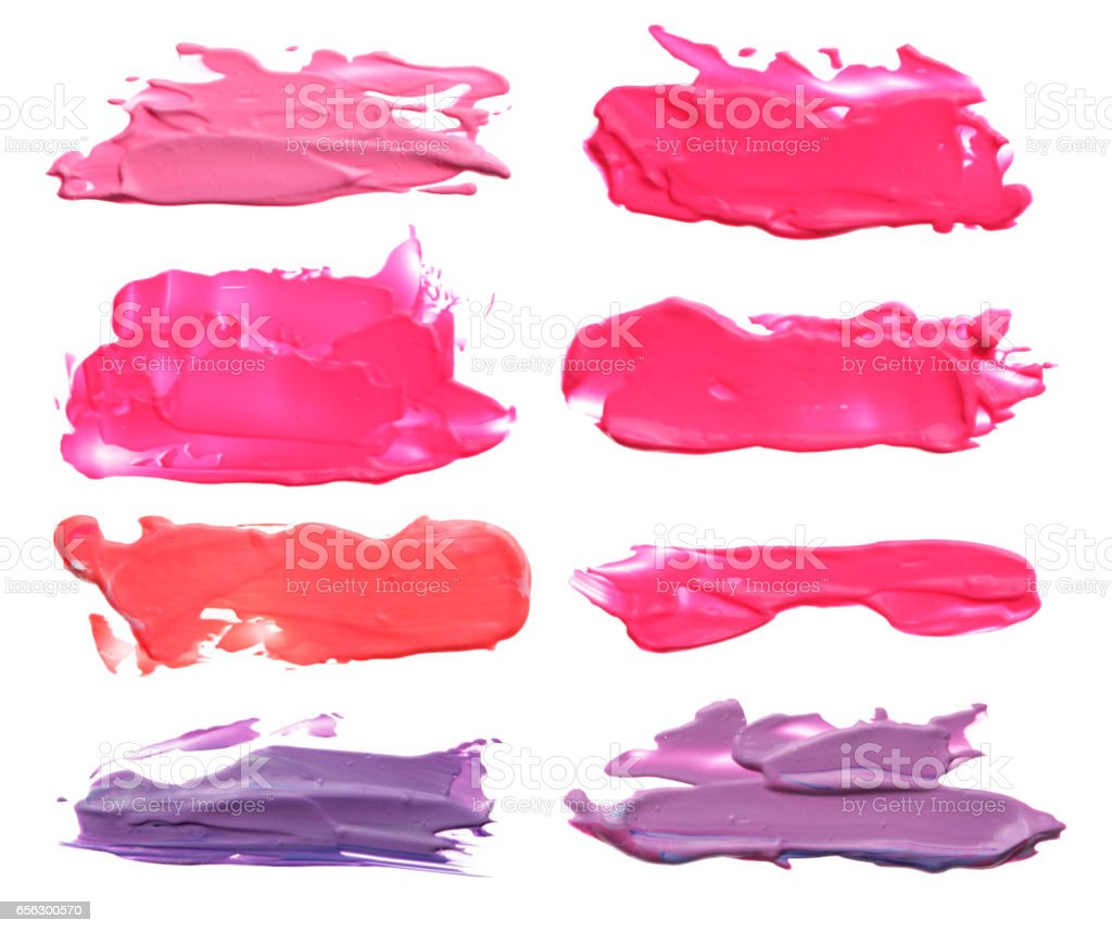 Collection of abstract acrylic color brush strokes blots. Isolated on white. stock photo