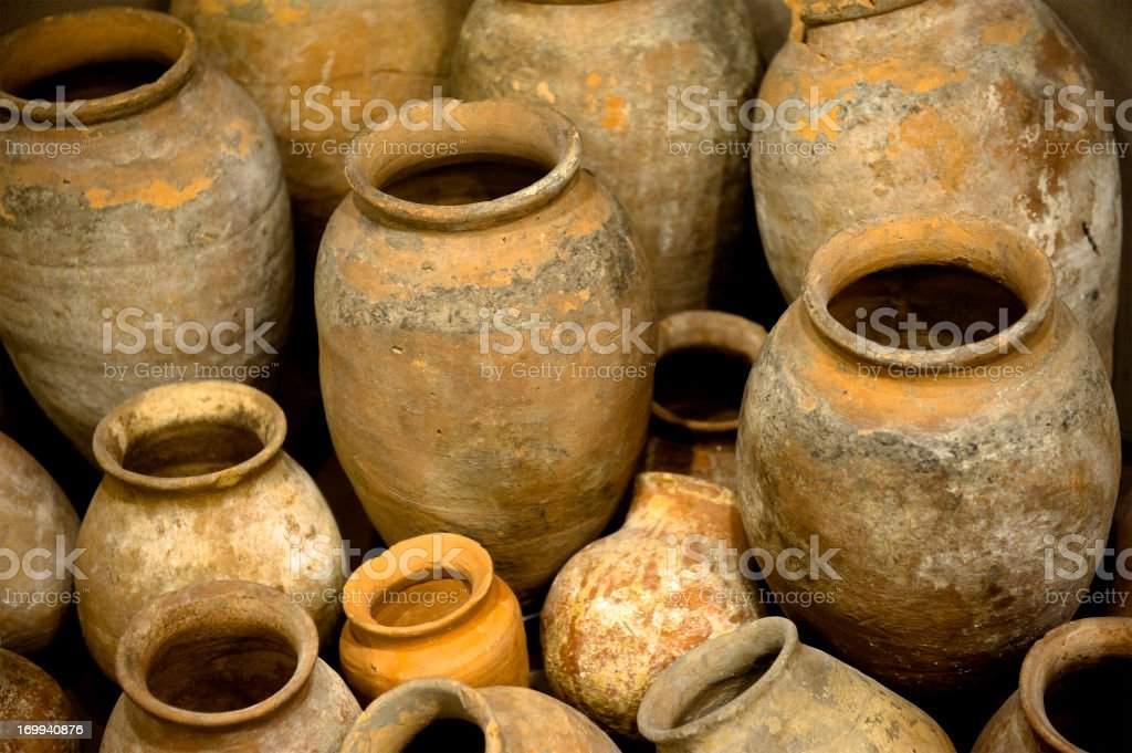Collection of ancient urns and jugs - amphorae royalty-free stock photo