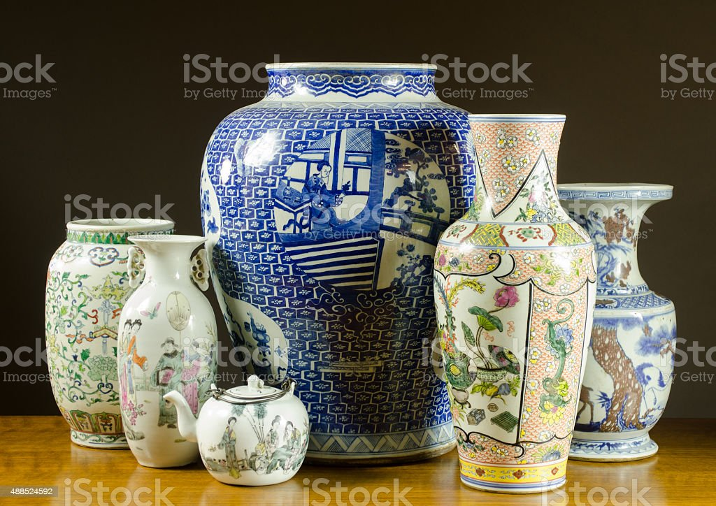 Collection of Antique Chinese Porcelain stock photo