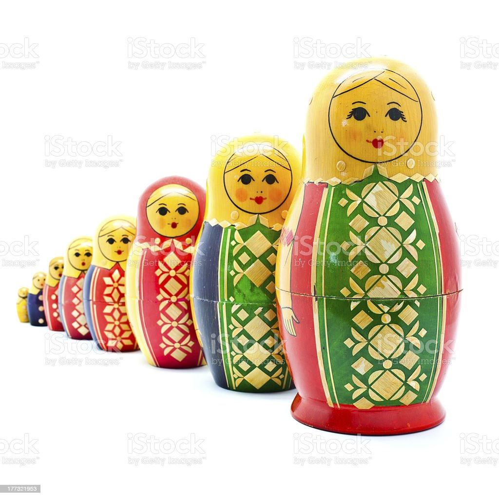 Collection of Antique Russian Dolls royalty-free stock photo