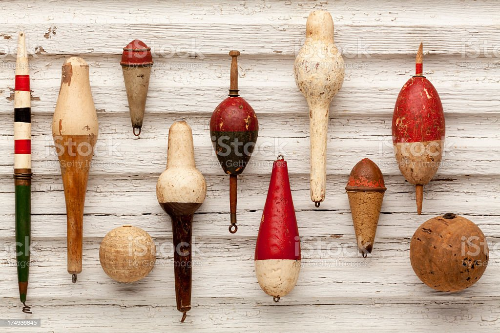 Collection of Antique, Vintage Fishing Floats or Bobbers. royalty-free stock photo