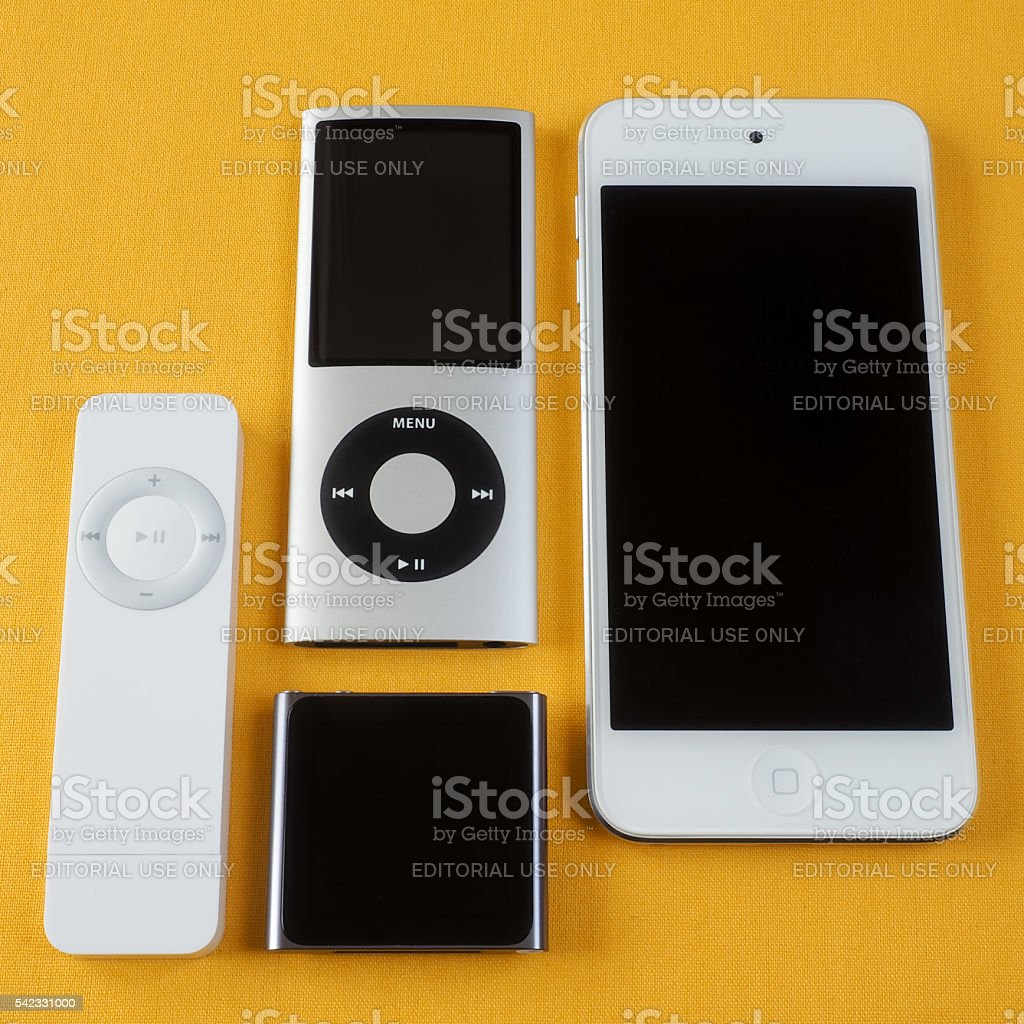 Collection of Apple iPods 1 stock photo