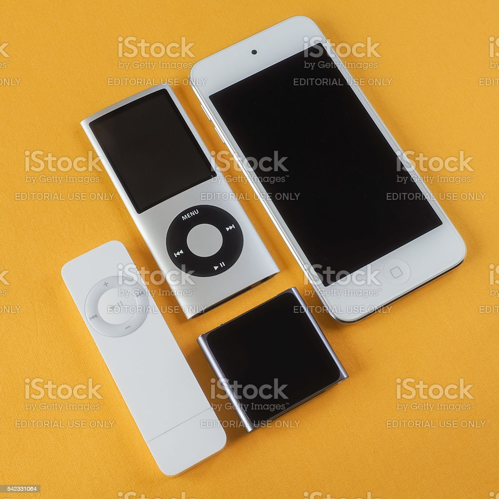 Collection of Apple iPods 2 stock photo