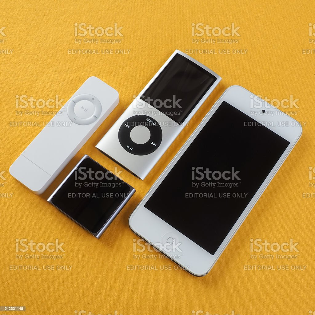 Collection of Apple iPods 3 stock photo
