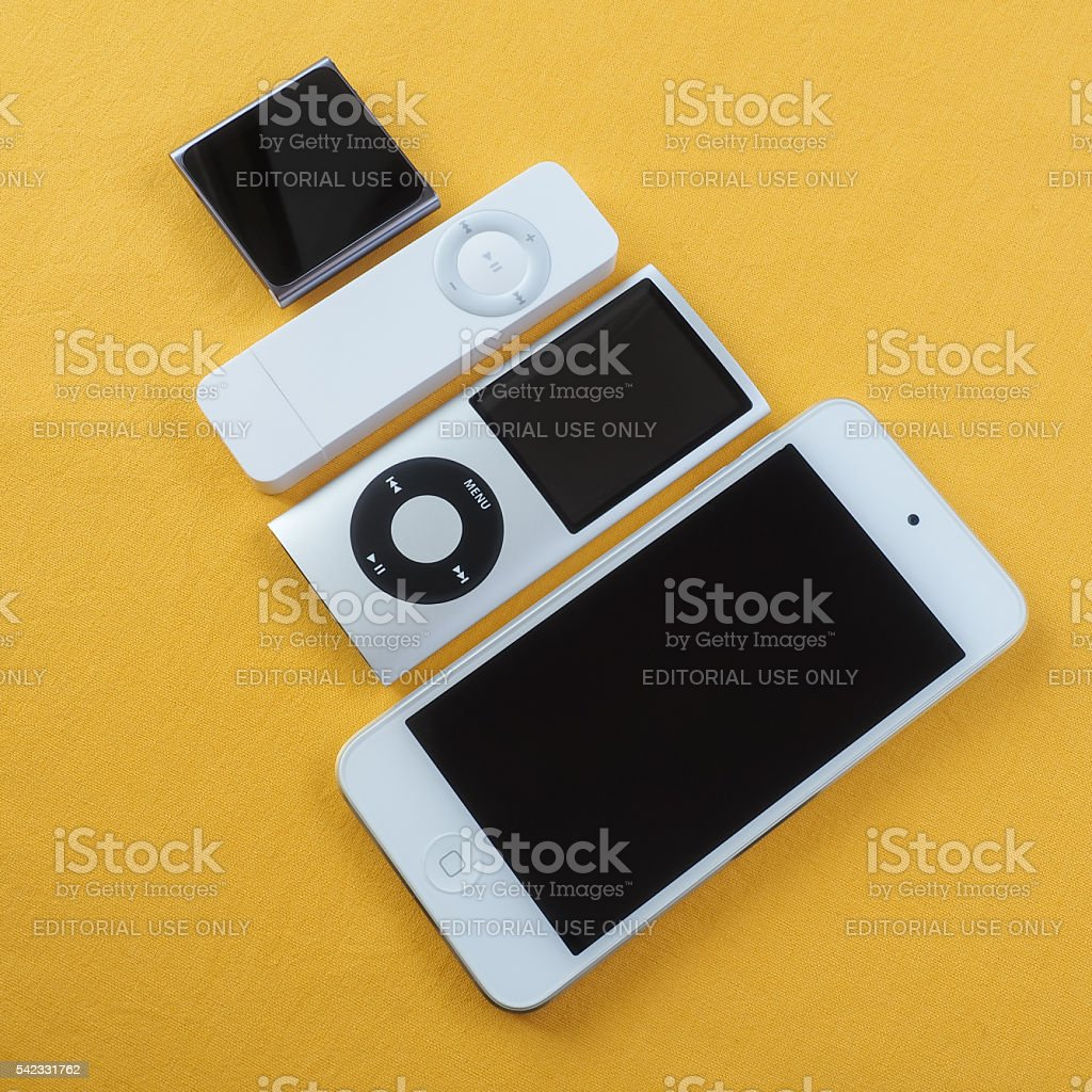 Collection of Apple iPods 4 stock photo