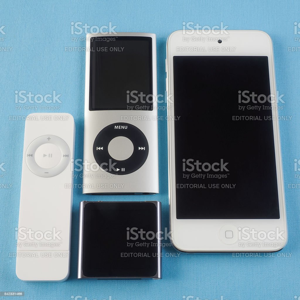 Collection of Apple iPods 5 stock photo