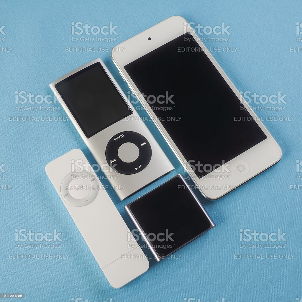 Collection of Apple iPods 6 stock photo