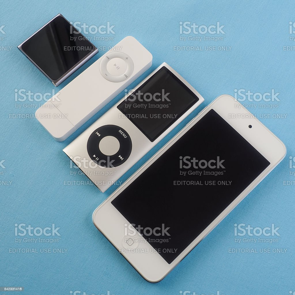 Collection of Apple iPods 8 stock photo