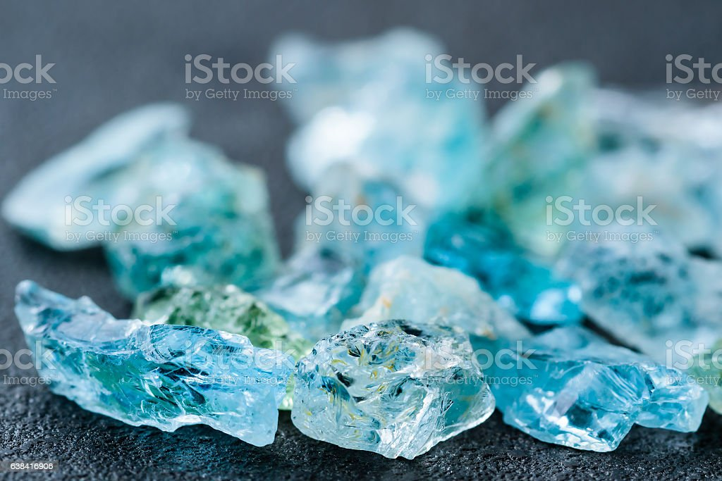 Collection of aquamarine crystals stock photo