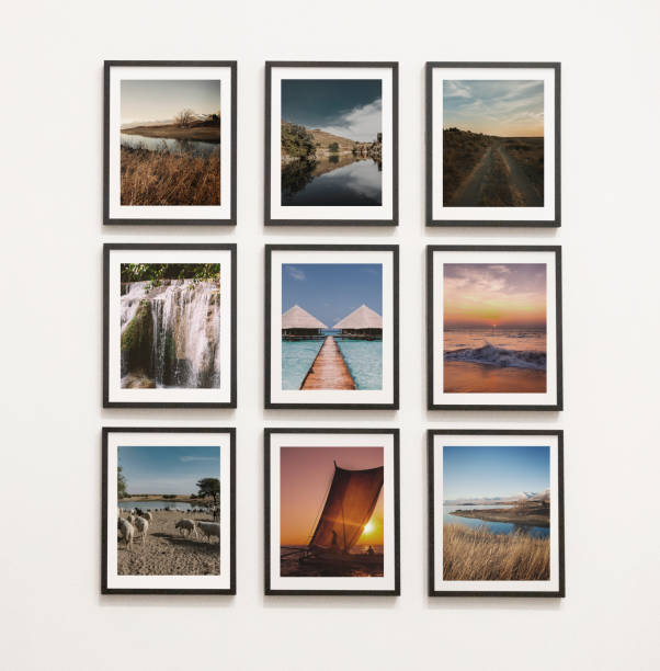 Collection of art pieces on the wall stock photo
