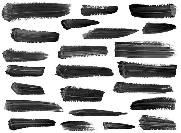 Collection of artistic paint streaks isolated on white stock photo