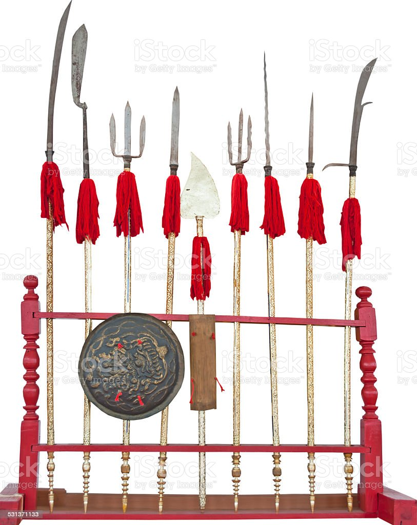 Collection of Asia antique weapons in Thai temple stock photo