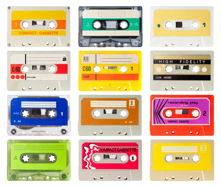 Collection of audio cassette from the eighties. isolated on white and with clipping path.
