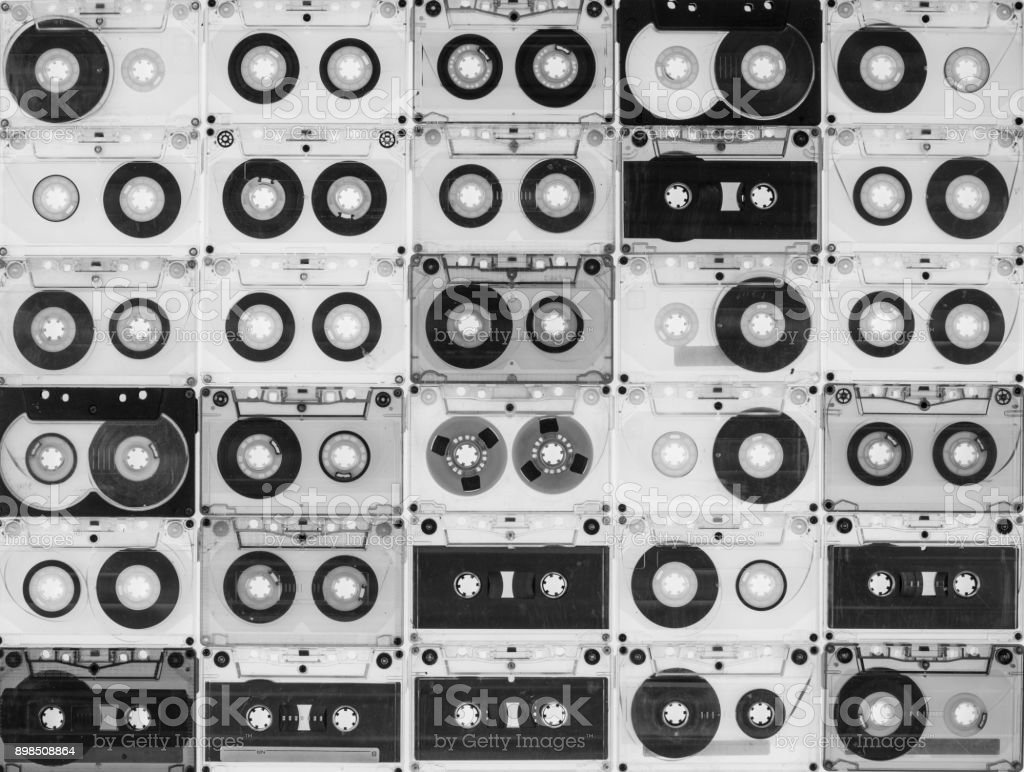 collection of audio cassettes, vintage background – zdjęcie