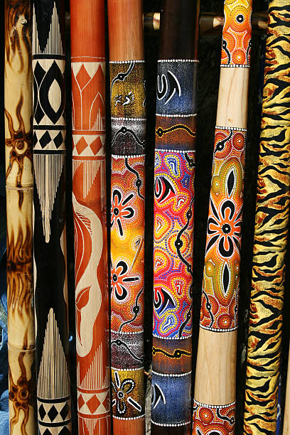 collection of australian didgeridoos - didgeridoo stock photos and pictures