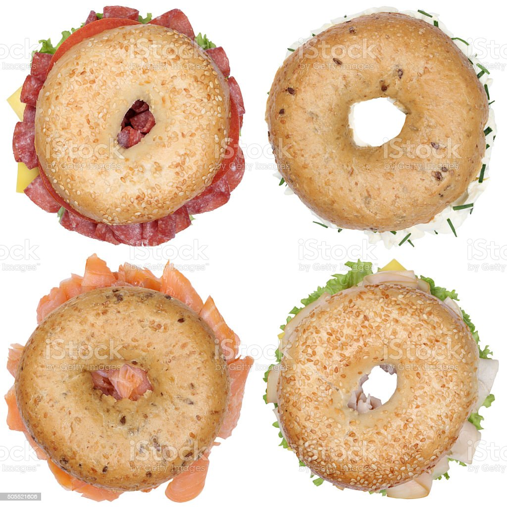Collection of bagels with salami ham cream cheese, salmon fish stock photo