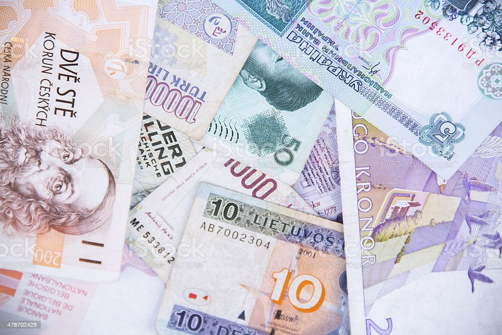 collection of bank notes stock photo