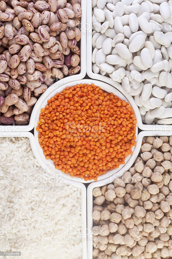 Collection of Beans, Legumes, Peas, Lentils royalty-free stock photo