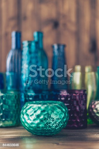 Collection of beautiful teal and green colored glassware