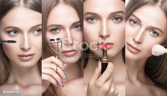 istock Collection of Beautiful young girl with a light natural make 504040120