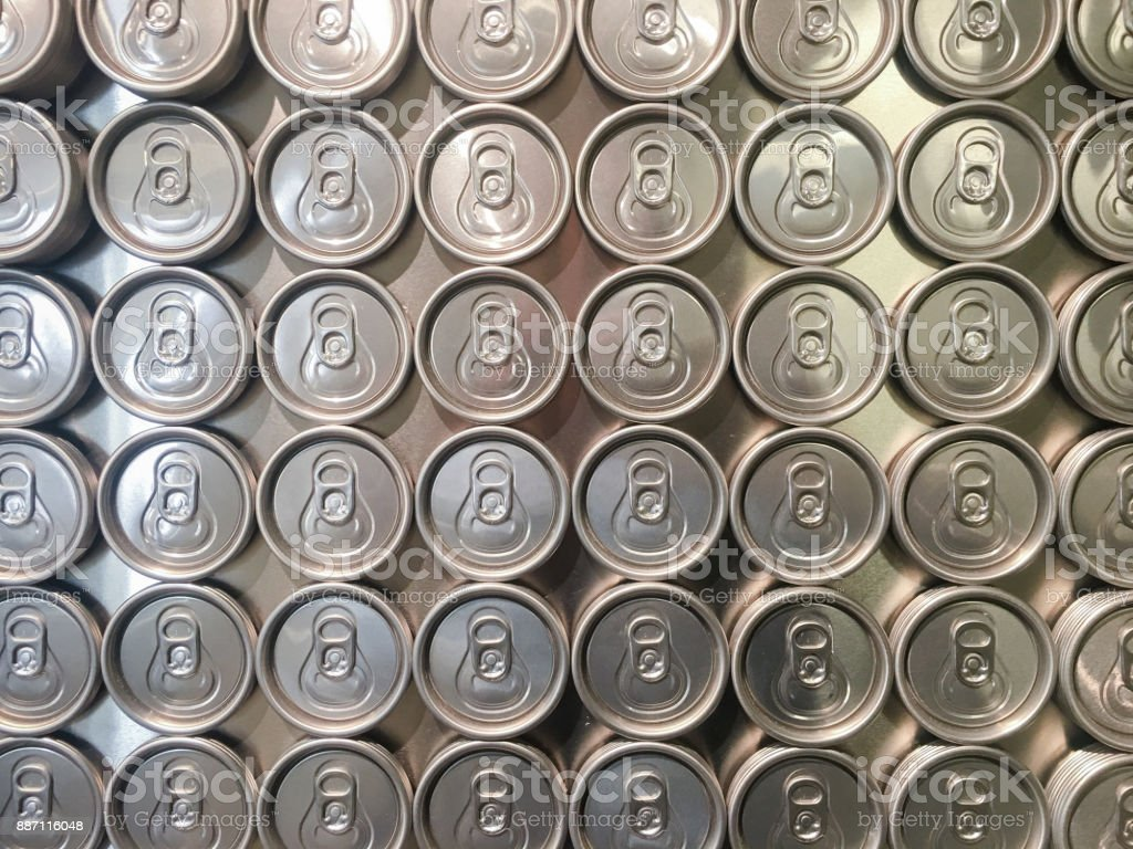 Collection of beer cans from above royalty-free stock photo