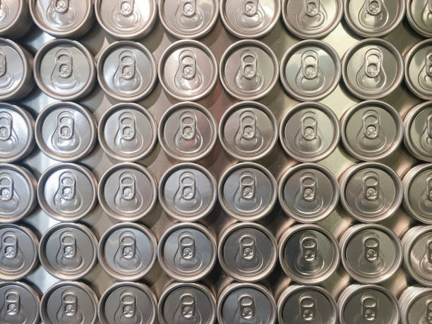 Collection of beer cans from above stock photo