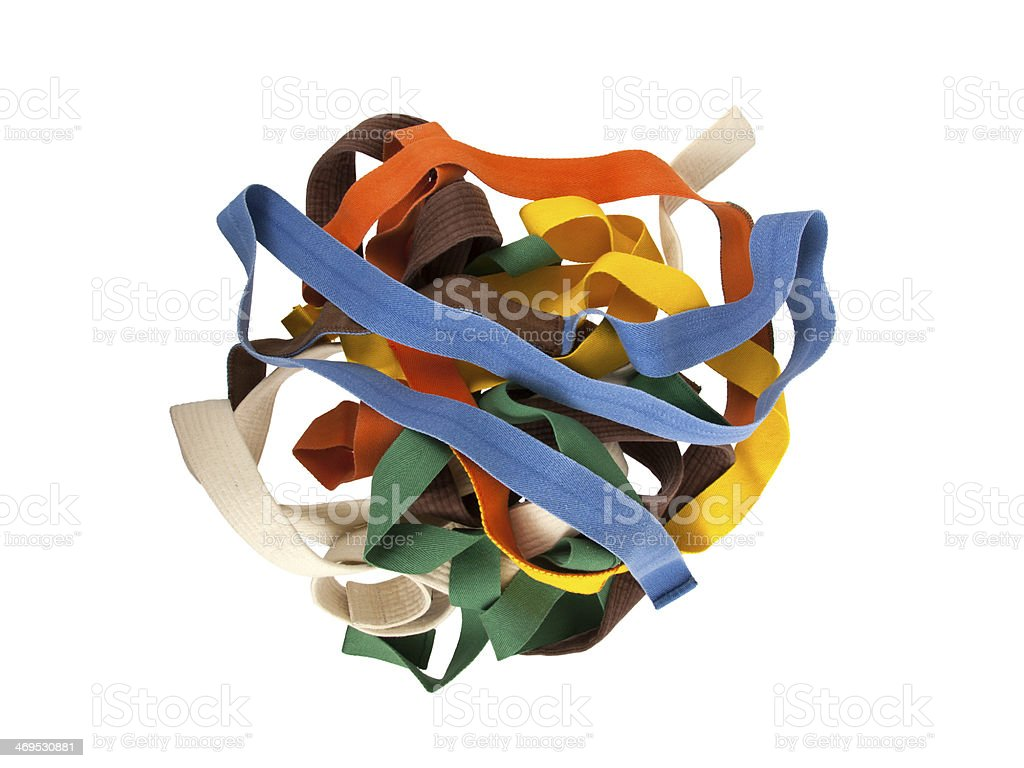 Collection of belts isolated stock photo