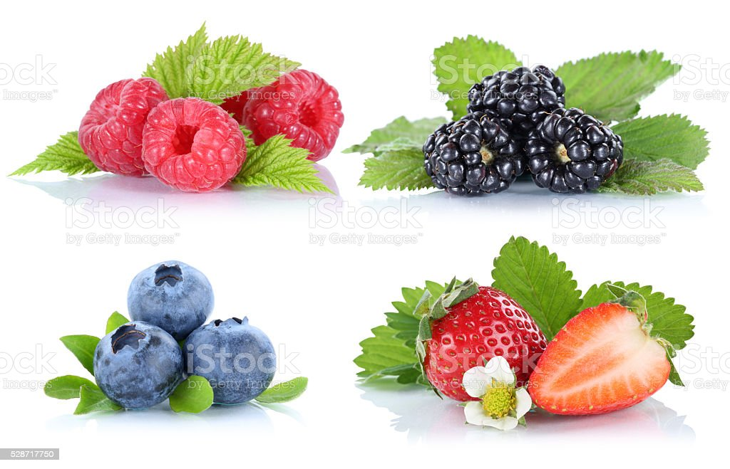 Collection of berries strawberries blueberries raspberries berry stock photo