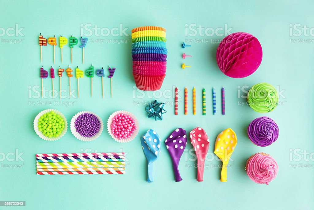 Collection of birthday party objects stock photo