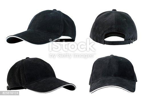 istock Collection of black baseball caps 825516124