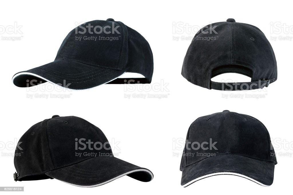 Collection of black baseball caps stock photo