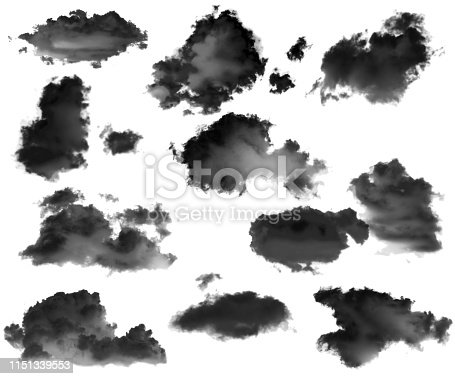 504797668 istock photo Collection of black clouds isolated on white background 1151339553