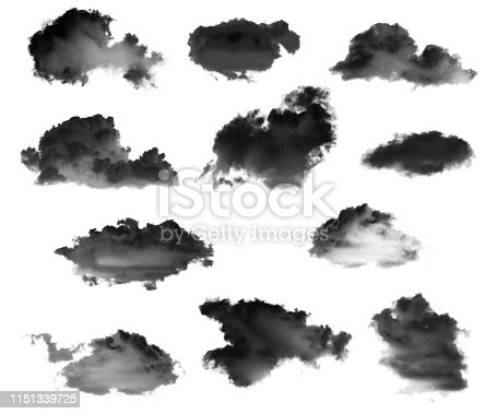504797668 istock photo Collection of black clouds isolated on white background 1151339725