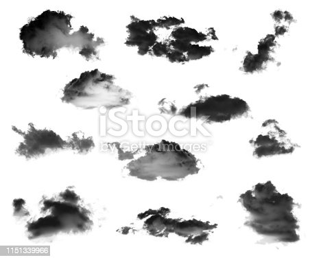 504797668 istock photo Collection of black clouds isolated on white background 1151339966